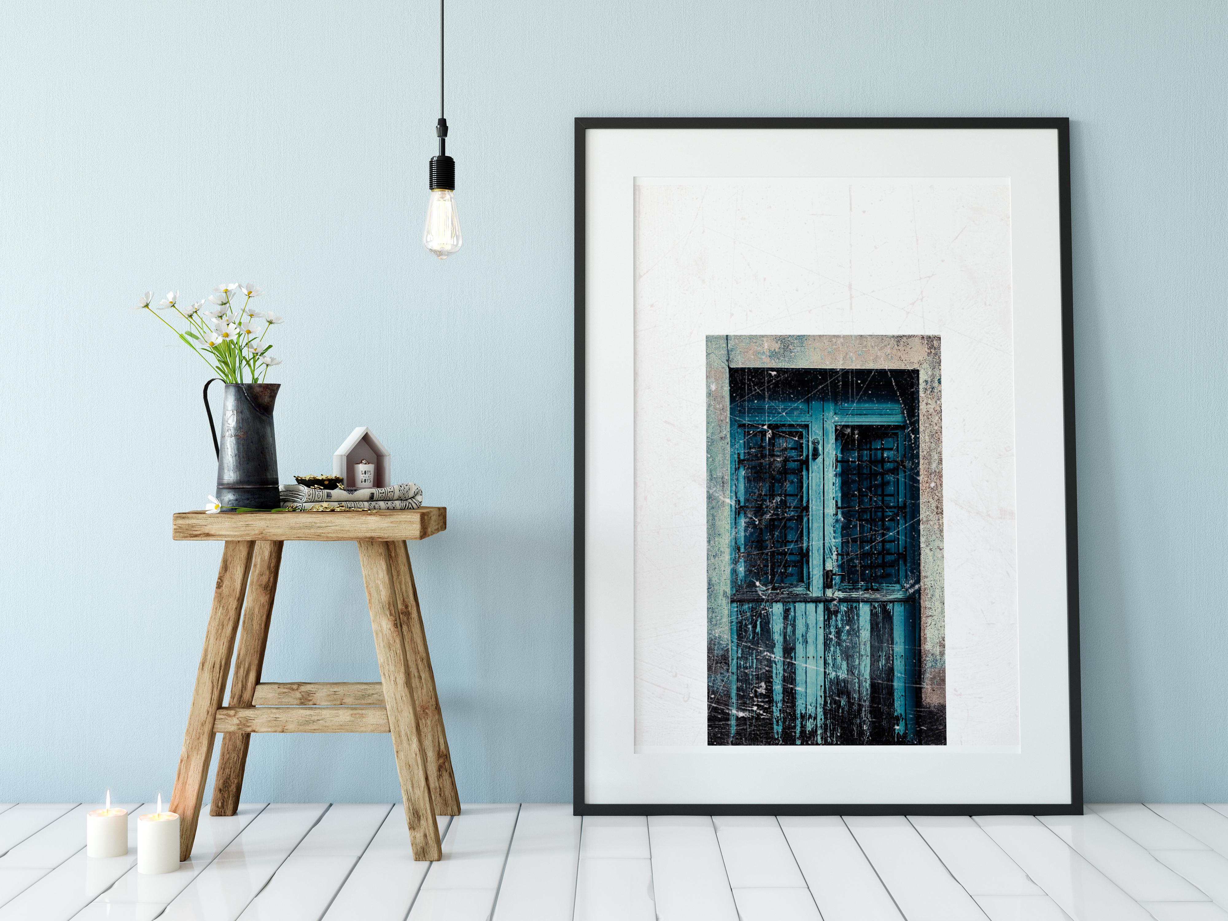 behind the blue door forex platte kaufen einzigartiges wandbild. Black Bedroom Furniture Sets. Home Design Ideas